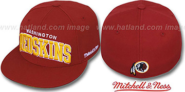 Redskins 'CLASSIC-ARCH' Burgundy Fitted Hat by Mitchell & Ness