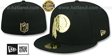 Redskins 'GOLD METAL-BADGE' Black Fitted Hat by New Era