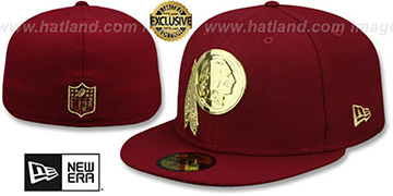 Redskins GOLD METAL-BADGE Burgundy Fitted Hat by New Era