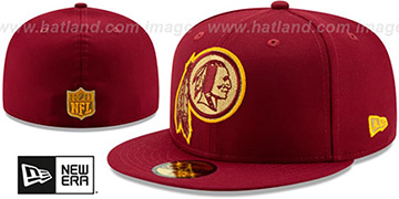 Redskins GOLD METALLIC STOPPER Burgundy Fitted Hat by New Era