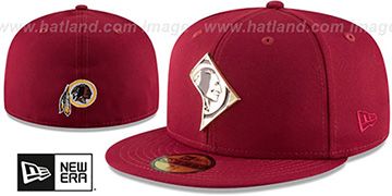 Redskins 'GOLD STATED METAL-BADGE' Burgundy Fitted Hat by New Era