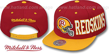 Redskins HELMET-WORDWRAP SNAPBACK Burgundy-Gold Hat by Mitchell and Ness