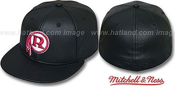 Redskins LEATHER THROWBACK Fitted Hat by Mitchell and Ness
