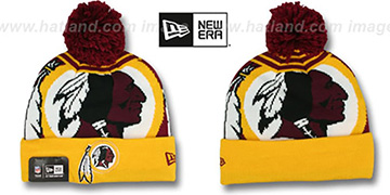 Redskins 'LOGO WHIZ' Burgundy-Gold Knit Beanie Hat by New Era