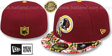 Redskins MARYLAND-FLAG Burgundy Fitted Hat by New Era