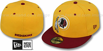 Redskins 'NFL 2T-TEAM-BASIC' Gold-Burgundy Fitted Hat by New Era
