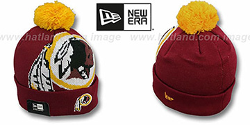 Redskins 'NFL-BIGGIE' Burgundy Knit Beanie Hat by New Era