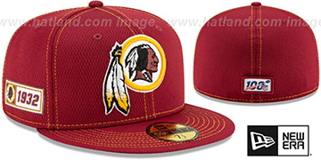 Redskins 'ONFIELD SIDELINE ROAD' Burgundy Fitted Hat by New Era