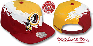 Redskins 'PAINTBRUSH SNAPBACK' Gold-White-Burgundy Hat by Mitchell & Ness