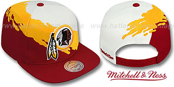 Redskins 'PAINTBRUSH SNAPBACK' White-Gold-Burgundy Hat by Mitchell and Ness