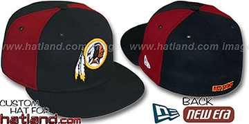 Redskins 'PINWHEEL-2' Black-Burgundy Fitted Hat