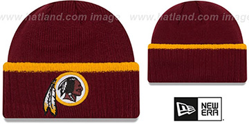 Redskins RIBBED-UP Burgundy Knit Beanie Hat by New Era