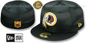 Redskins 'SATIN BASIC' Black Fitted Hat by New Era