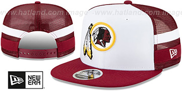 Redskins SIDE-STRIPED TRUCKER SNAPBACK Hat by New Era