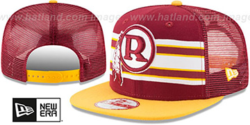 Redskins 'TB THROWBACK-STRIPE SNAPBACK' Burgundy-Gold Hat by New Era
