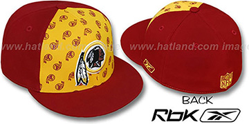 Redskins 'TEAM-PRINT PINWHEEL' Gold-Burgundy Fitted Hat by Reebok