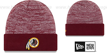 Redskins 'TEAM-RAPID' Burgundy-White Knit Beanie Hat by New Era