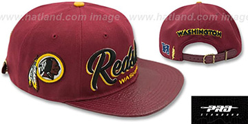 Redskins TEAM-SCRIPT STRAPBACK Burgundy Hat by Pro Standard