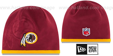 Redskins 'TECH-KNIT STADIUM' Burgundy-Gold Knit Beanie Hat by New Era