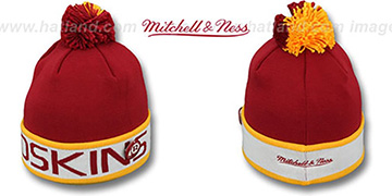 Redskins 'THE-BUTTON' Knit Beanie Hat by Michell & Ness
