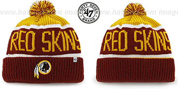 Redskins 'THE-CALGARY' Burgundy-Gold Knit Beanie Hat by Twins 47 Brand