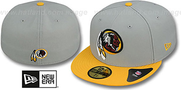 Redskins TRACE-POP Grey-Gold Fitted Hat by New Era