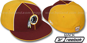 Redskins 'TRI PIPING PINWHEEL' Burgundy Gold Fitted Hat by Reebok