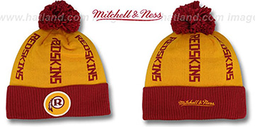 Redskins 'VERTICAL WORD BEANIE' Gold-Burgundy by Mitchell and Ness