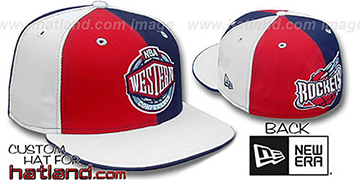 Rockets CONFERENCE 'PINWHEEL' Red-Navy-White Fitted Hat