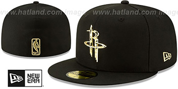 Rockets GOLD SHATTERED METAL-BADGE Black Fitted Hat by New Era
