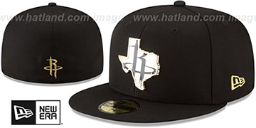 Rockets 'GOLD STATED METAL-BADGE' Black Fitted Hat by New Era