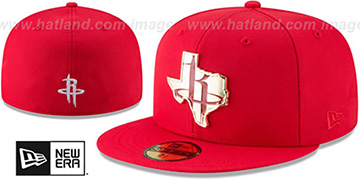 Rockets 'GOLD STATED METAL-BADGE' Red Fitted Hat by New Era
