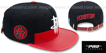 Rockets HORIZON STRAPBACK Black-Red Hat by Pro Standard