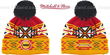 Rockets HWC GEOTECH Knit Beanie by Mitchell and Ness