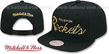 Rockets LIQUID METALLIC SCRIPT SNAPBACK Black-Gold Hat by Mitchell and Ness