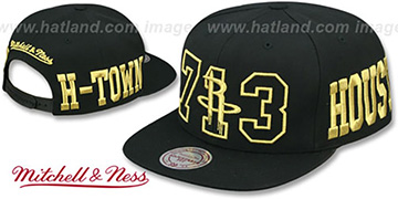 Rockets METALLIC AREA-CODE SNAPBACK Black Hat by Mitchell and Ness