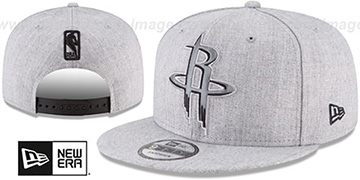 Rockets SILKED-XL SNAPBACK Heather Light Grey Hat by New Era