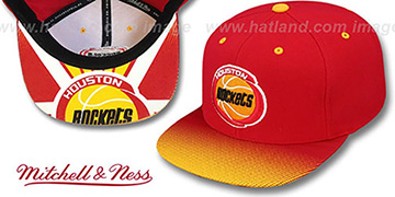 Rockets 'STOP-ON-A-DIME SNAPBACK' Red-Gold Hat by Mitchell and Ness