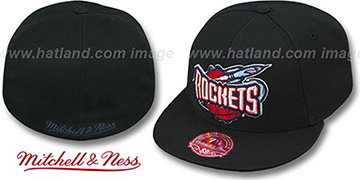 Rockets 'XL-LOGO BASIC' Black Fitted Hat by Mitchell & Ness