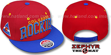 Rockies '2T SUPER-ARCH SNAPBACK' Red-Royal Hat by Zephyr