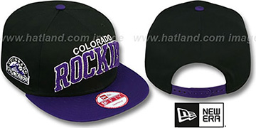 Rockies CHENILLE-ARCH SNAPBACK Black-Purple Hat by New Era