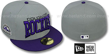 Rockies 'PRO-ARCH' Grey-Purple Fitted Hat by New Era