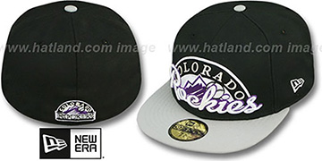 Rockies SCRIPT-PUNCH Black-Grey Fitted Hat by New Era