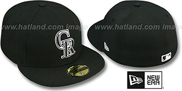 Rockies TEAM-BASIC 2 Black-White Fitted Hat by New Era