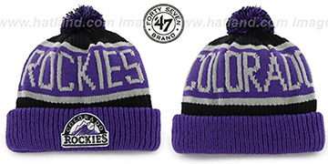 Rockies THE-CALGARY Purple-Black Knit Beanie Hat by Twins 47 Brand