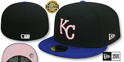 Royals 2002 COOPERSTOWN PINK LOGO BOTTOM Fitted Hat by New Era