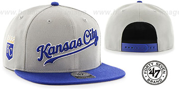 Royals 'SCRIPT-SIDE SNAPBACK' Grey-Royal Hat by Twins 47 Brand