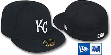 Royals 'TEAM-BASIC' Black-White Fitted Hat by New Era