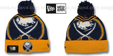 Sabres LOGO WHIZ Navy-Gold Knit Beanie Hat by New Era