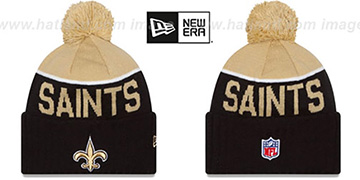 Saints 2015 STADIUM Black-Gold Knit Beanie Hat by New Era